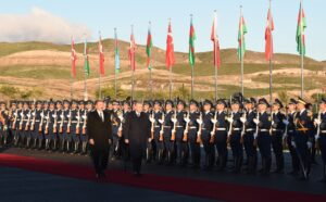 Official welcome ceremony was held for Turkish President Recep Tayyip Erdogan in Aghali village, Zangilan district